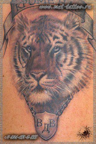 Черно-белая татуировка тигр-ВДВ. Мужская тату на плече.