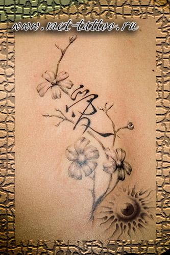 Тату женская. Иероглиф 'любовь' с сакурой. У девушки на лопатке. Black&Gray tattoo.