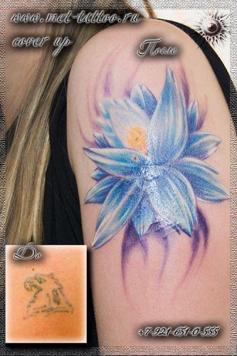 Фото перекрытия некачественной татуировки. Женская цветная татуировка на плече