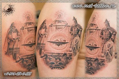 Рождение воина. Татуировка по мотивам картины.