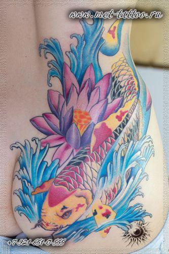 Женская цветная татуировка в японском стиле. Карп Кои. Тату для девушки.